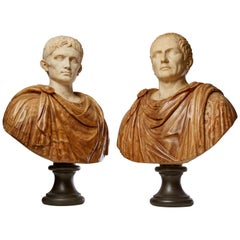 Pair of Grande Tour Roman Marble Busts of Caesar & Diocletian on Doric Columns