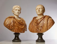 Exquisite Pair of 19th C. Grande Tour Roman Marble Busts of Caesar & Diocletian