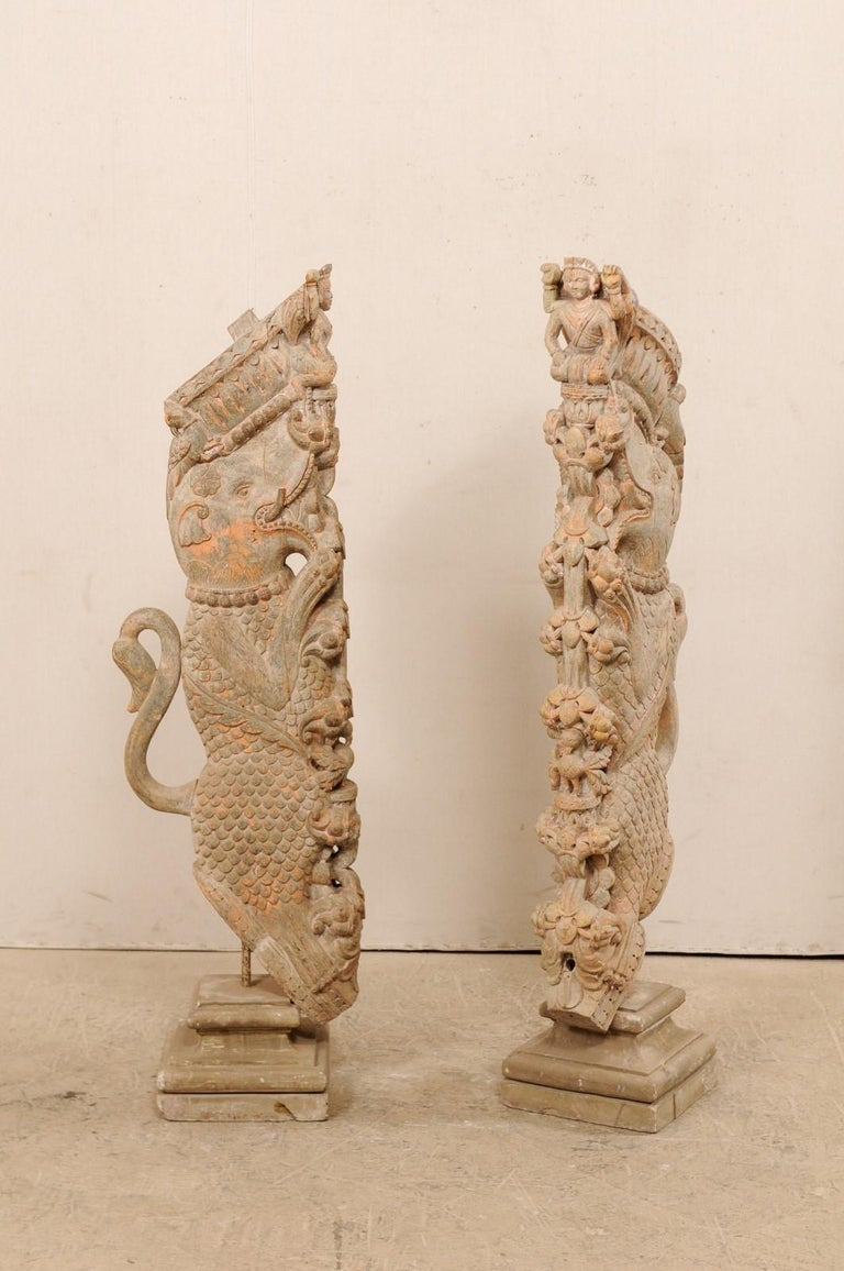 Indian Exquisite Pair of 19th Century Hand Carved Hindu Temple Struts, South India For Sale