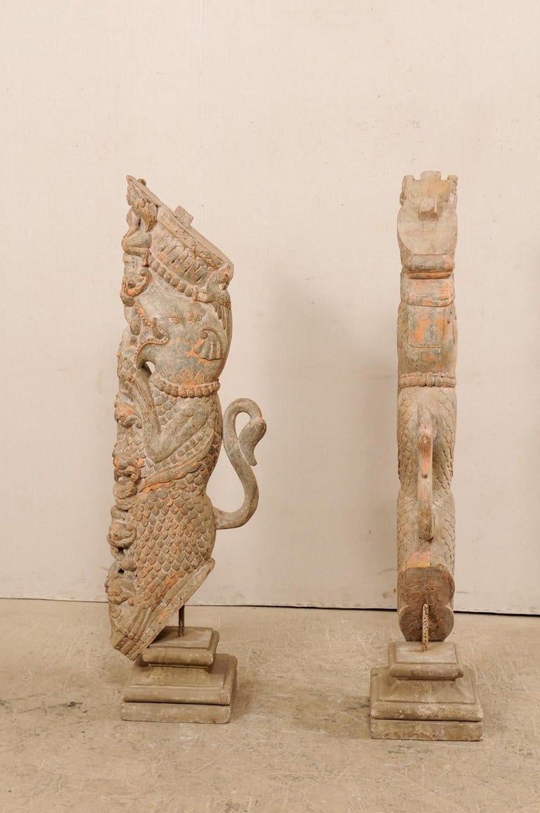 Wood Exquisite Pair of 19th Century Hand Carved Hindu Temple Struts, South India For Sale