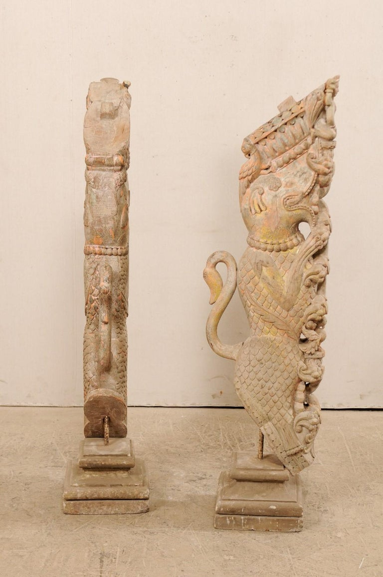 Exquisite Pair of 19th Century Hand Carved Hindu Temple Struts, South India For Sale 1