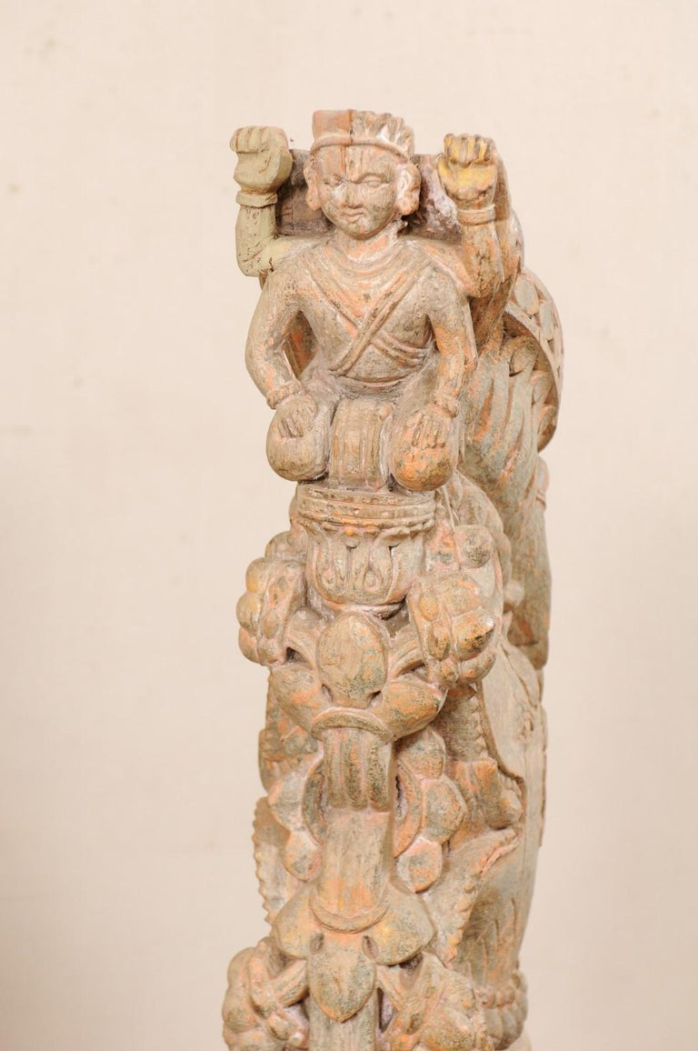 Exquisite Pair of 19th Century Hand Carved Hindu Temple Struts, South India For Sale 3