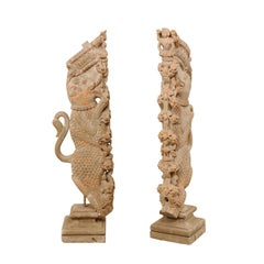 Exquisite Pair of 19th Century Hand Carved Hindu Temple Struts, South India