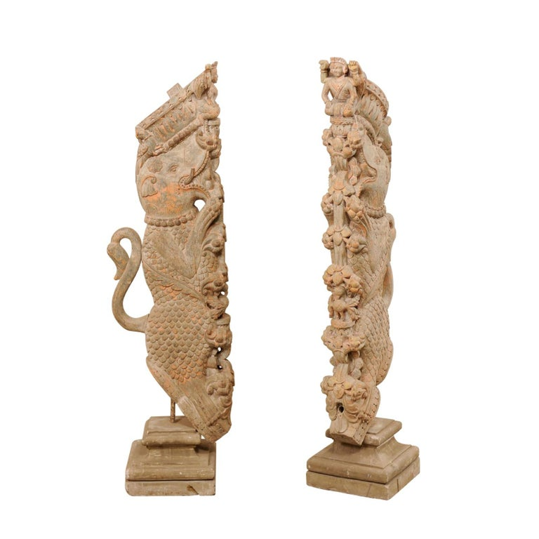 Exquisite Pair of 19th Century Hand Carved Hindu Temple Struts, South India For Sale