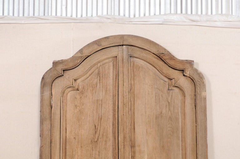 Spanish Colonial Exquisite Pair of Arched 19th Century Spanish Carved Wood Doors with Casing For Sale