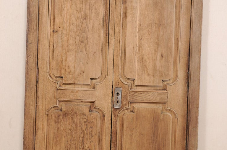 Iron Exquisite Pair of Arched 19th Century Spanish Carved Wood Doors with Casing For Sale