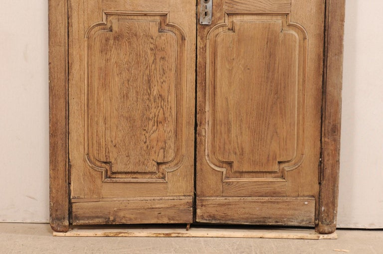 Exquisite Pair of Arched 19th Century Spanish Carved Wood Doors with Casing For Sale 1