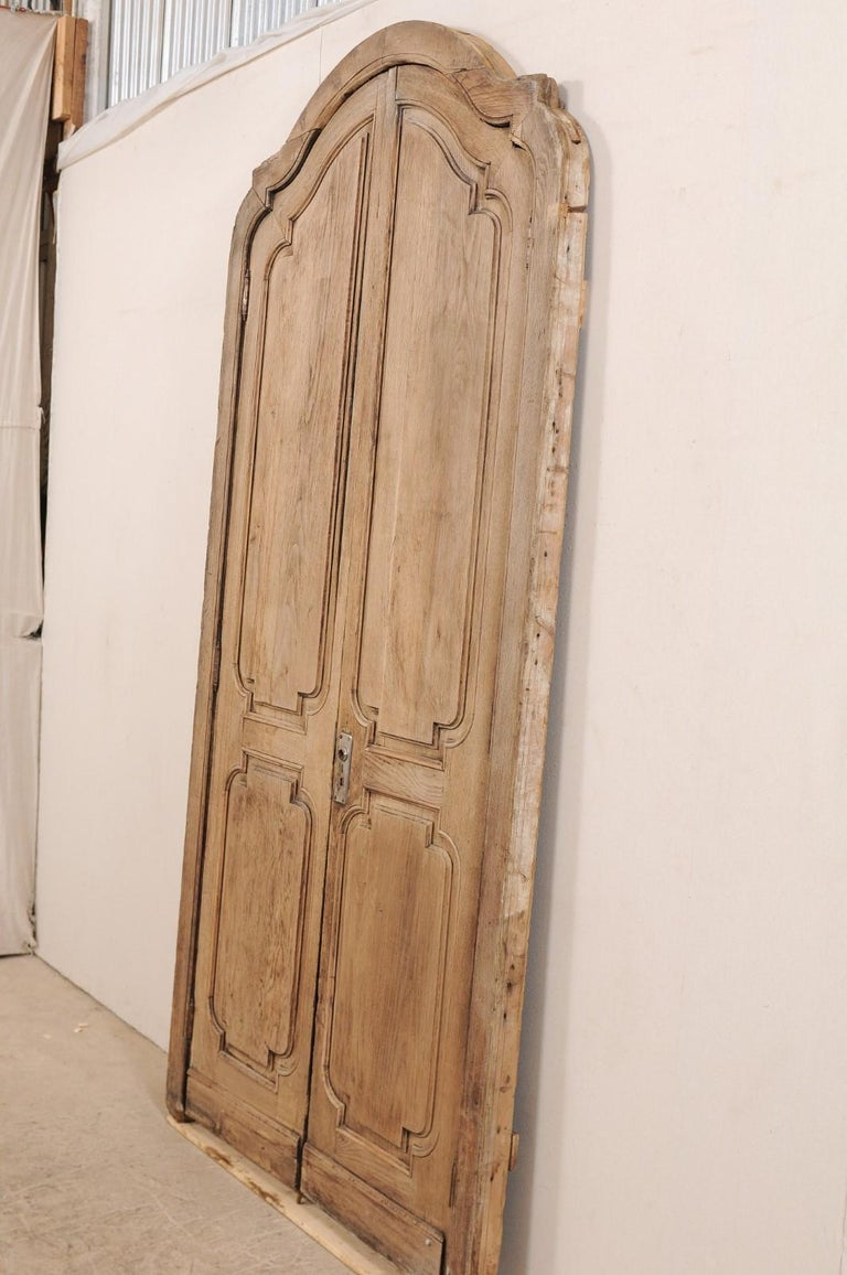 Exquisite Pair of Arched 19th Century Spanish Carved Wood Doors with Casing For Sale 2