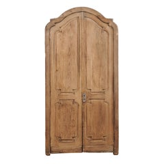 Exquisite Pair of Arched 19th Century Spanish Carved Wood Doors with Casing