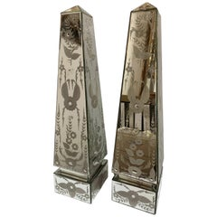 Exquisite Pair of Etched Mirrored Obelisk