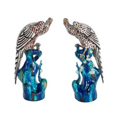 Exquisite Pair of French Art Deco Hand Painted and Glazed Ceramic Falcons