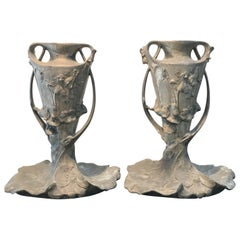 Exquisite Pair of French Art Nouveau Pewter Vases