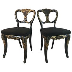 Exquisite Pair of French Hand Painted Ebony 19th Century Chairs