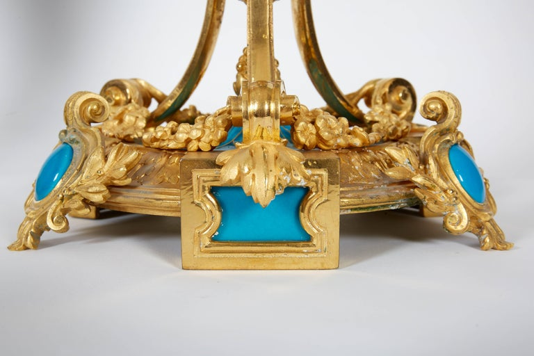 Exquisite Pair of French Ormolu and Turquoise Sevres Porcelain Candelabra For Sale 4