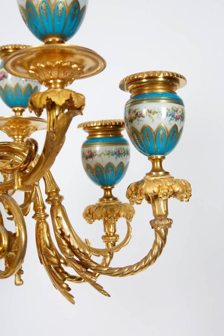 Exquisite Pair of French Ormolu and Turquoise Sevres Porcelain Candelabra For Sale 6