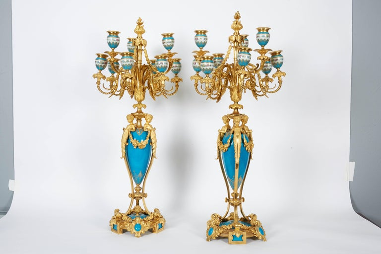 Exquisite pair of French ormolu bronze-mounted and turquoise sevres porcelain nine-light candelabra, circa 1880.