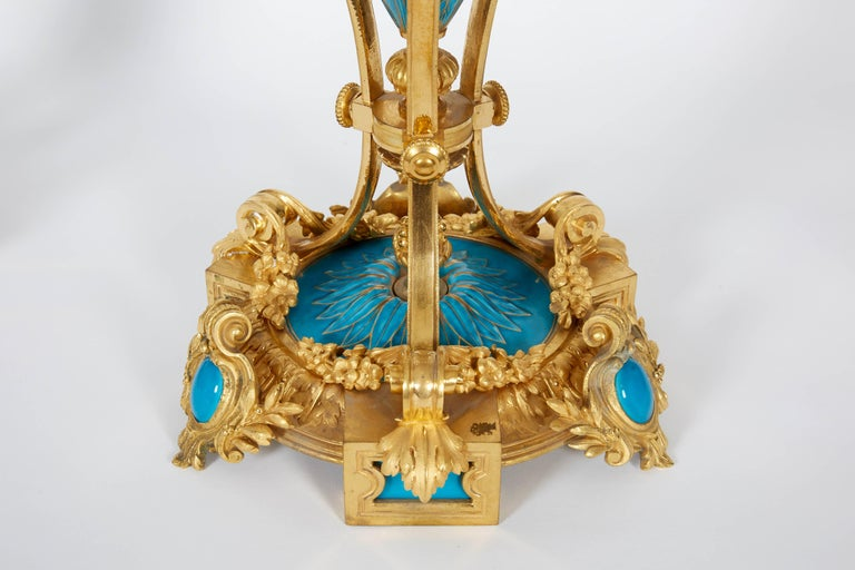Napoleon III Exquisite Pair of French Ormolu and Turquoise Sevres Porcelain Candelabra For Sale