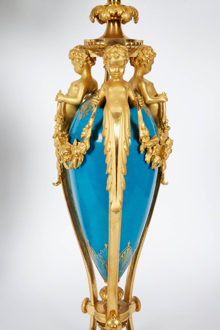 Exquisite Pair of French Ormolu and Turquoise Sevres Porcelain Candelabra In Good Condition For Sale In New York, NY