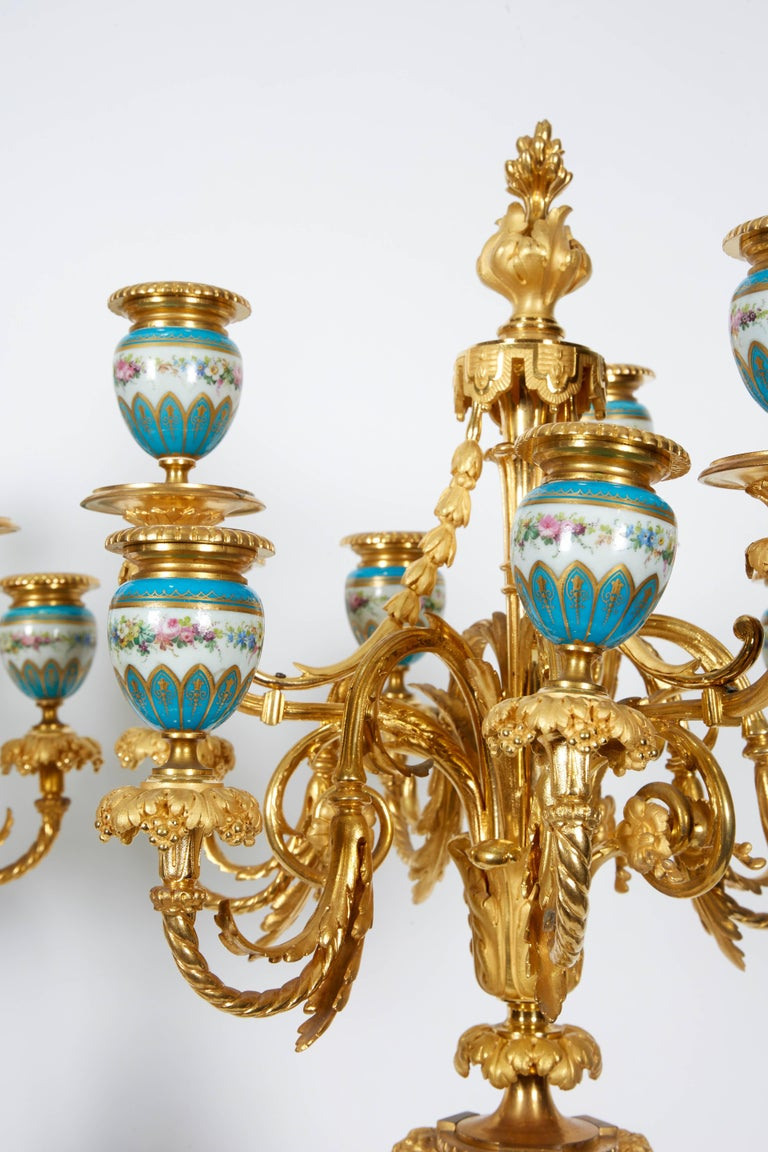 19th Century Exquisite Pair of French Ormolu and Turquoise Sevres Porcelain Candelabra For Sale