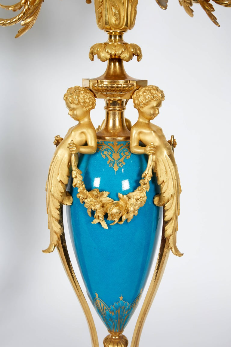 Bronze Exquisite Pair of French Ormolu and Turquoise Sevres Porcelain Candelabra For Sale