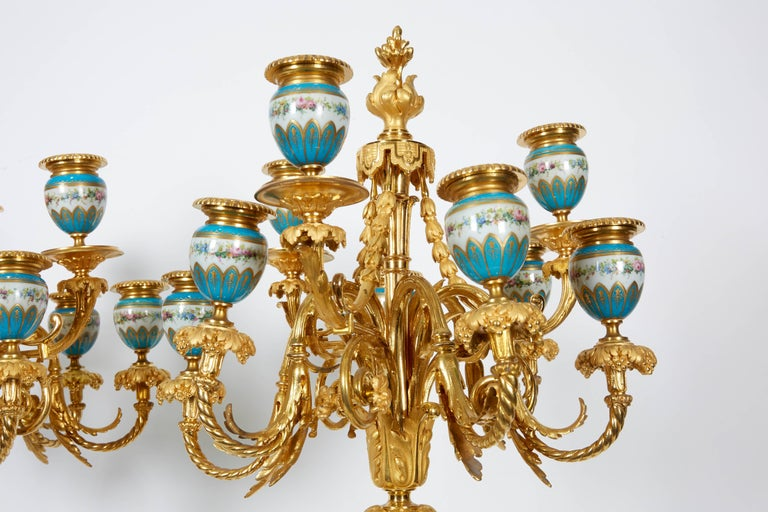 Exquisite Pair of French Ormolu and Turquoise Sevres Porcelain Candelabra For Sale 2