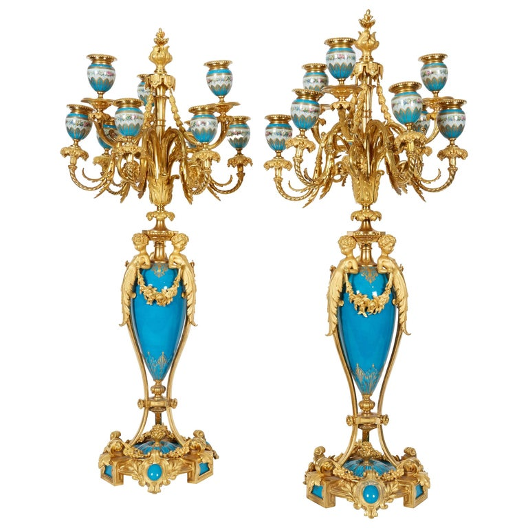 Exquisite Pair of French Ormolu and Turquoise Sevres Porcelain Candelabra For Sale
