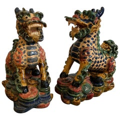 Exquisite Pair of Glazed Porcelain Foo Dogs