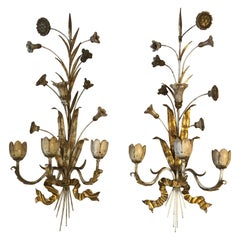 Exquisite Pair of Gold Gilt Iron Carved Wood French Tulip Motife Candle Sconces