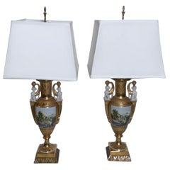 Exquisite Pair of Hand Painted Porcelain Neoclassical Urn Lamps
