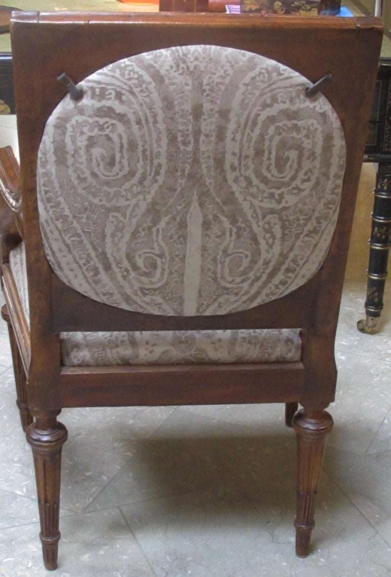 Exquisite Pair of Italian Neoclassical Carved Walnut Upholstered Armchairs In Excellent Condition For Sale In San Francisco, CA
