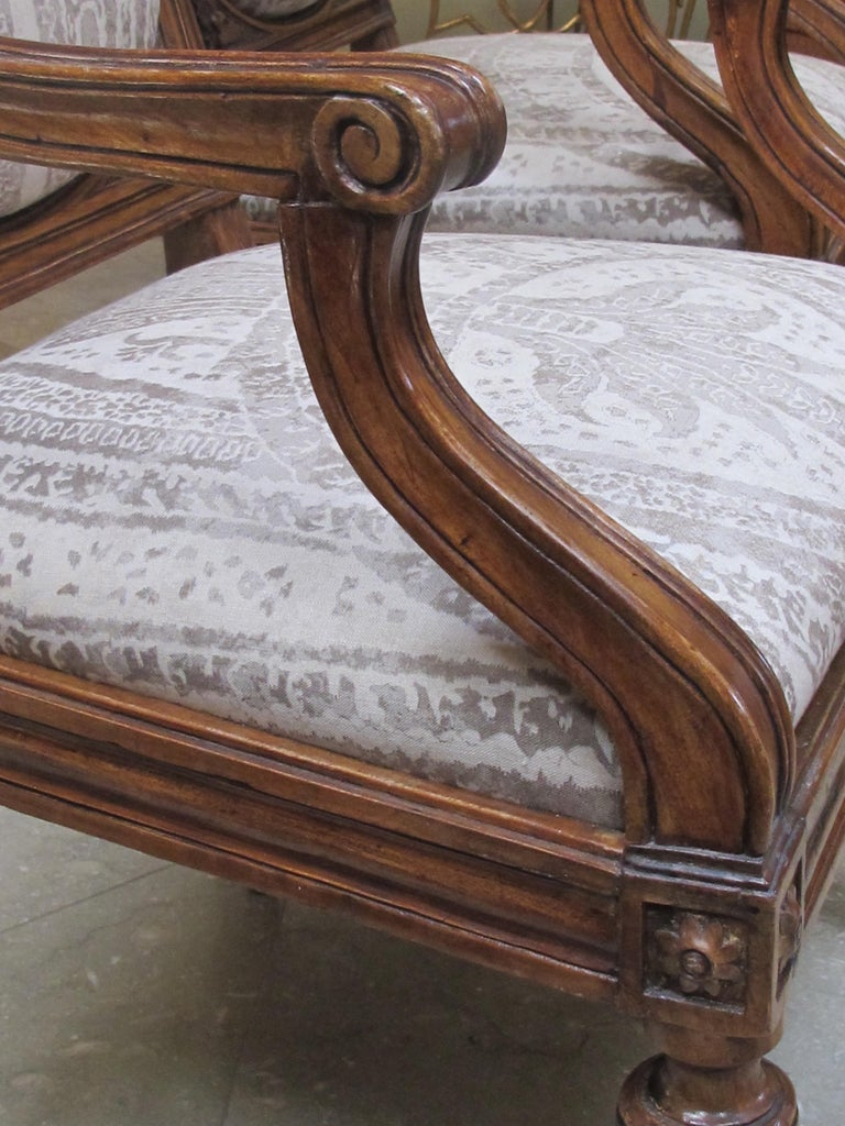 Exquisite Pair of Italian Neoclassical Carved Walnut Upholstered Armchairs For Sale 2