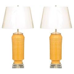 Exquisite Pair of Italian Yellow Ochre Ceramics, circa 1970, as New Custom Lamps