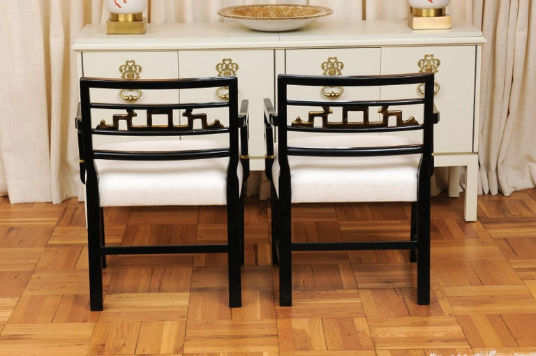 Exquisite Pair of Modern Chinoiserie Greek Key Armchairs by Baker, circa 1960 For Sale 3