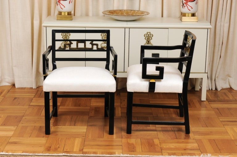 Exquisite Pair of Modern Chinoiserie Greek Key Armchairs by Baker, circa 1960 For Sale 5