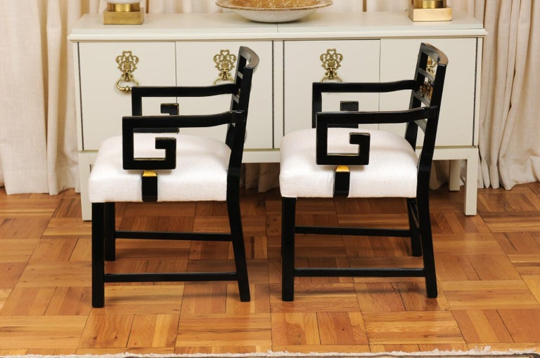 Exquisite Pair of Modern Chinoiserie Greek Key Armchairs by Baker, circa 1960 For Sale 6