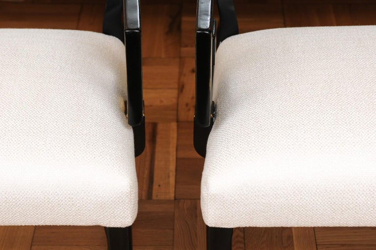 Exquisite Pair of Modern Chinoiserie Greek Key Armchairs by Baker, circa 1960 For Sale 8