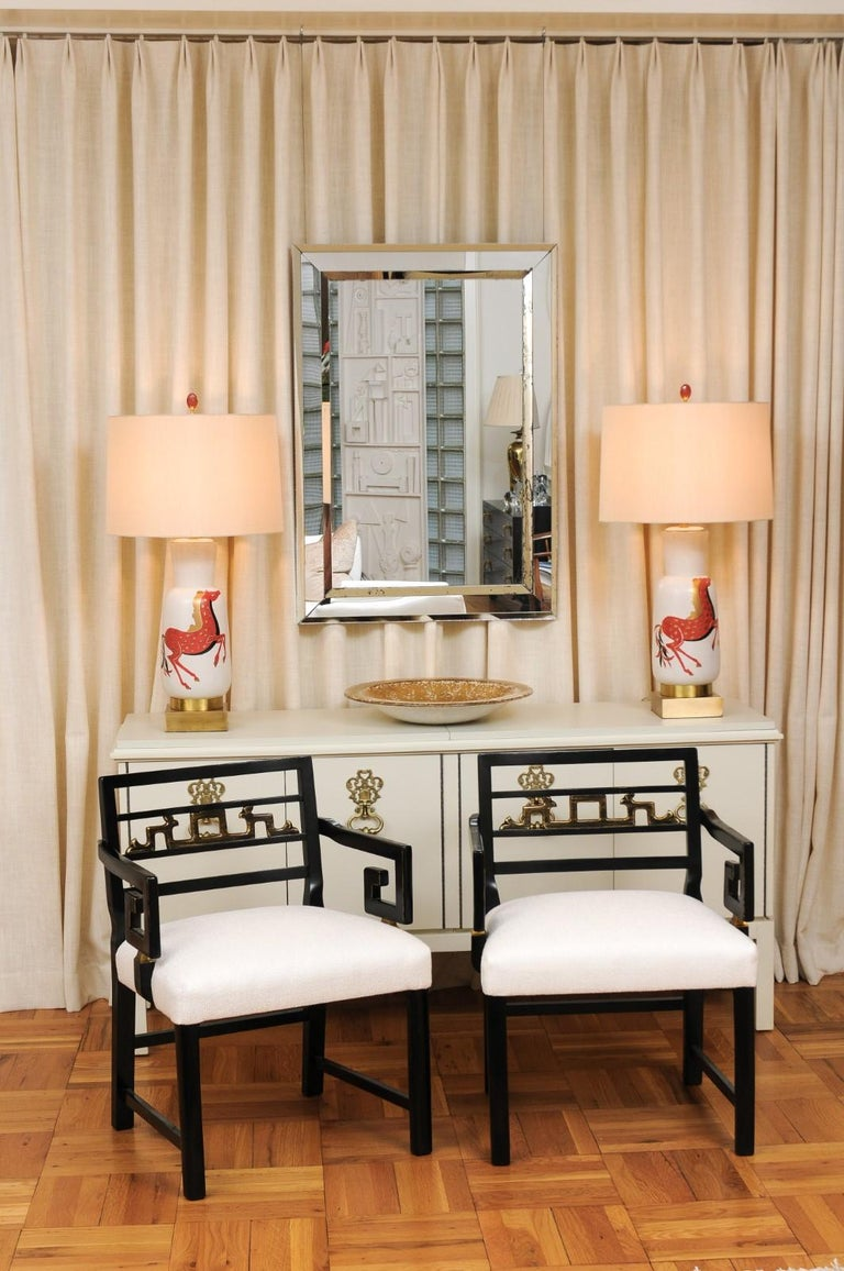Mid-Century Modern Exquisite Pair of Modern Chinoiserie Greek Key Armchairs by Baker, circa 1960 For Sale
