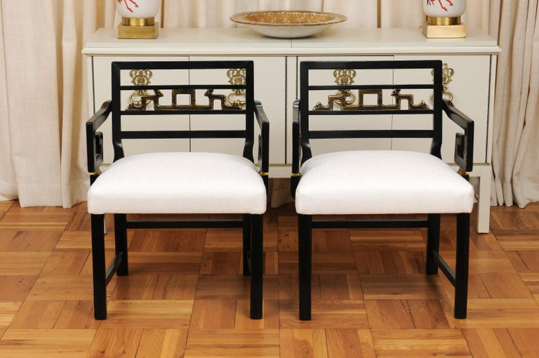Mid-20th Century Exquisite Pair of Modern Chinoiserie Greek Key Armchairs by Baker, circa 1960 For Sale