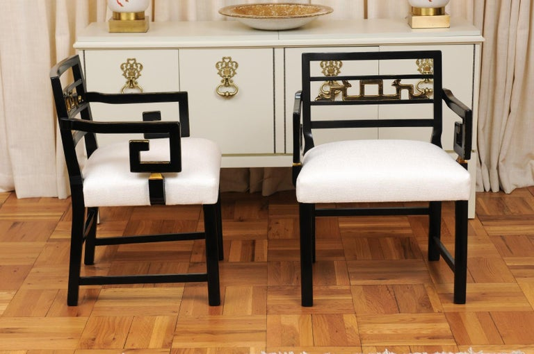 Mahogany Exquisite Pair of Modern Chinoiserie Greek Key Armchairs by Baker, circa 1960 For Sale