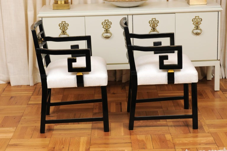 Exquisite Pair of Modern Chinoiserie Greek Key Armchairs by Baker, circa 1960 For Sale 1