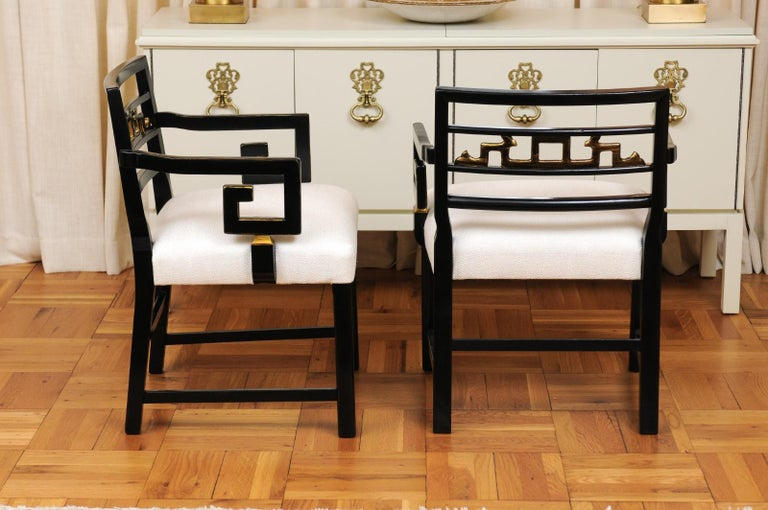 Exquisite Pair of Modern Chinoiserie Greek Key Armchairs by Baker, circa 1960 For Sale 2