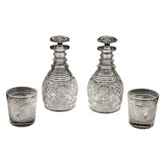 Exquisite Pair of Regency Cut Glass Decanters with Matching Tumblers