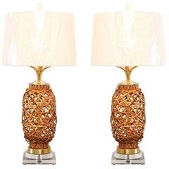 Exquisite Pair of Restored Vintage Rattan Vessels as Custom Lamps