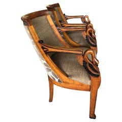 Exquisite Pair of Swan Motife Indonesian Chairs with Fabulous Upholstery