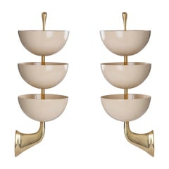 Exquisite Pair of Tiered White Enamel and Brass Sconces by Stilnovo, Italy 1950s