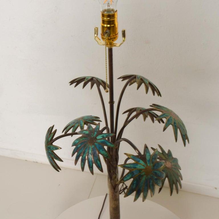 Exquisite Pepe Mendoza Palm Tree Table Lamp in Bronze & Malachite, 1950s, Mexico For Sale 4