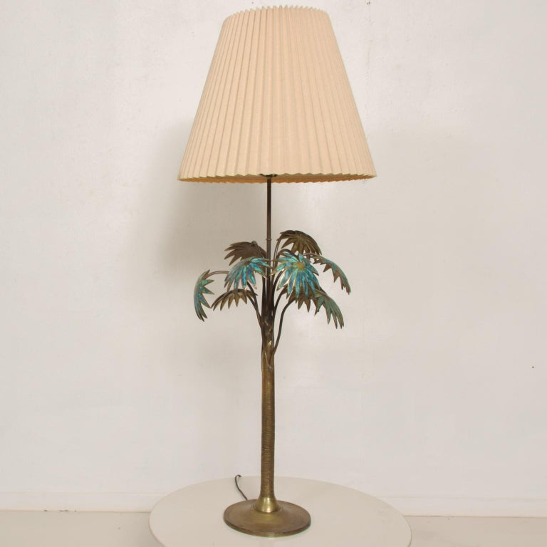 Mid-Century Modern Exquisite Pepe Mendoza Palm Tree Table Lamp in Bronze & Malachite, 1950s, Mexico For Sale