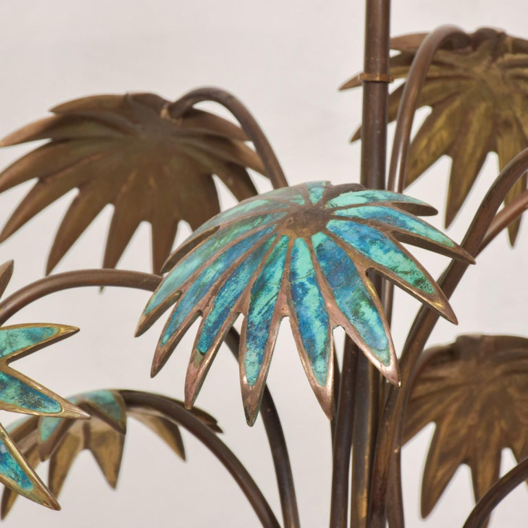 Exquisite Pepe Mendoza Palm Tree Table Lamp in Bronze & Malachite, 1950s, Mexico In Good Condition For Sale In National City, CA