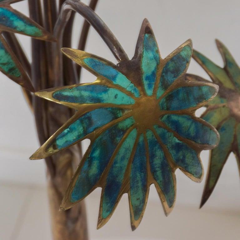 Mid-20th Century Exquisite Pepe Mendoza Palm Tree Table Lamp in Bronze & Malachite, 1950s, Mexico For Sale