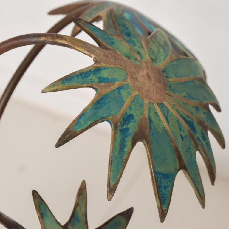 Exquisite Pepe Mendoza Palm Tree Table Lamp in Bronze & Malachite, 1950s, Mexico For Sale 1